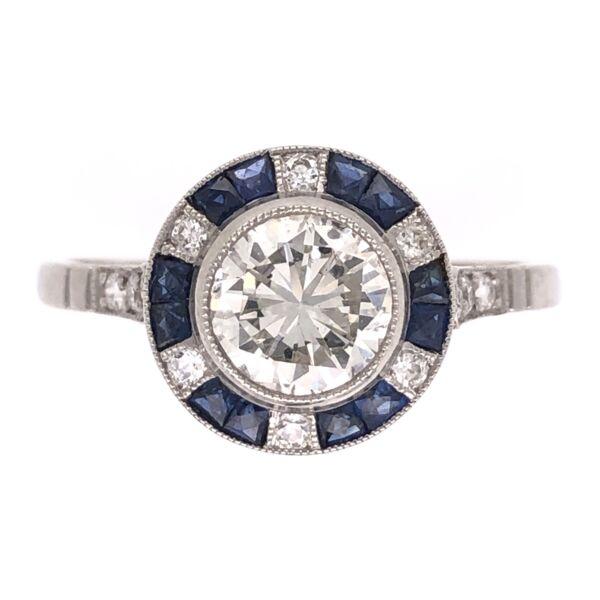 Closeup photo of Platinum Art Deco .87ct Round Diamond, .48tcw Sapphire & .18tcw Side Diamond Ring, s7.5