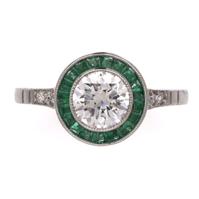 Closeup photo of Platinum Art Deco .76ct Round Diamond Ring with .44tcw Emerald Halo , s7