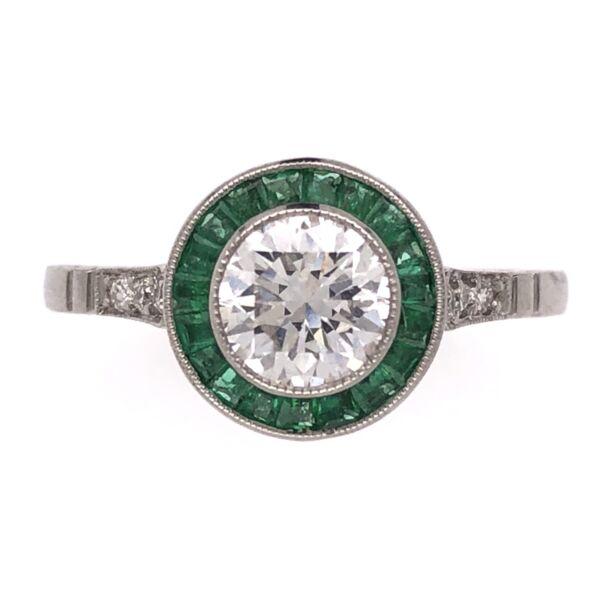 Closeup photo of Platinum Art Deco .76ct Round Diamond Ring with .44tcw Emerald Halo , s7