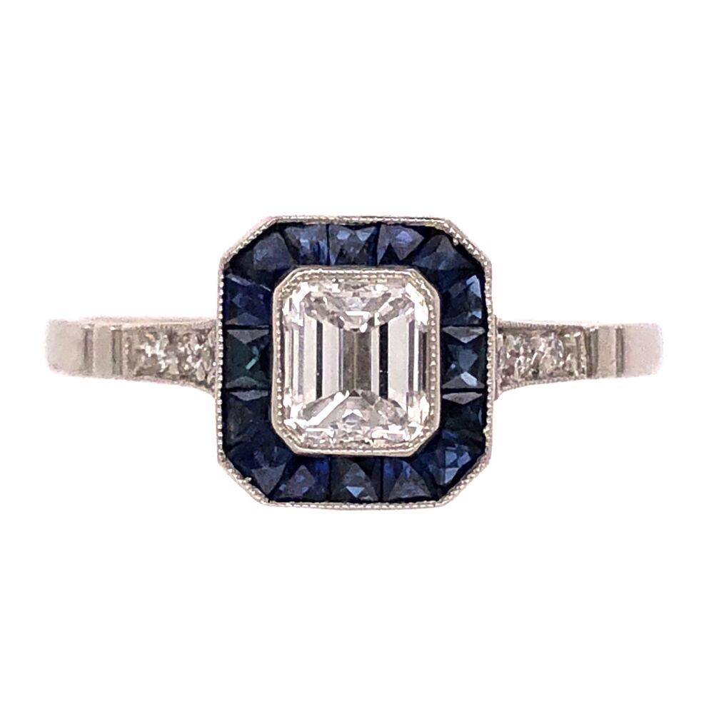 Platinum Handmade .48ct Emerald Cut Diamond Ring with .80tcw Sapphire Halo, s7