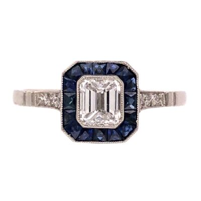 Closeup photo of Platinum Handmade .48ct Emerald Cut Diamond Ring with .80tcw Sapphire Halo, s7