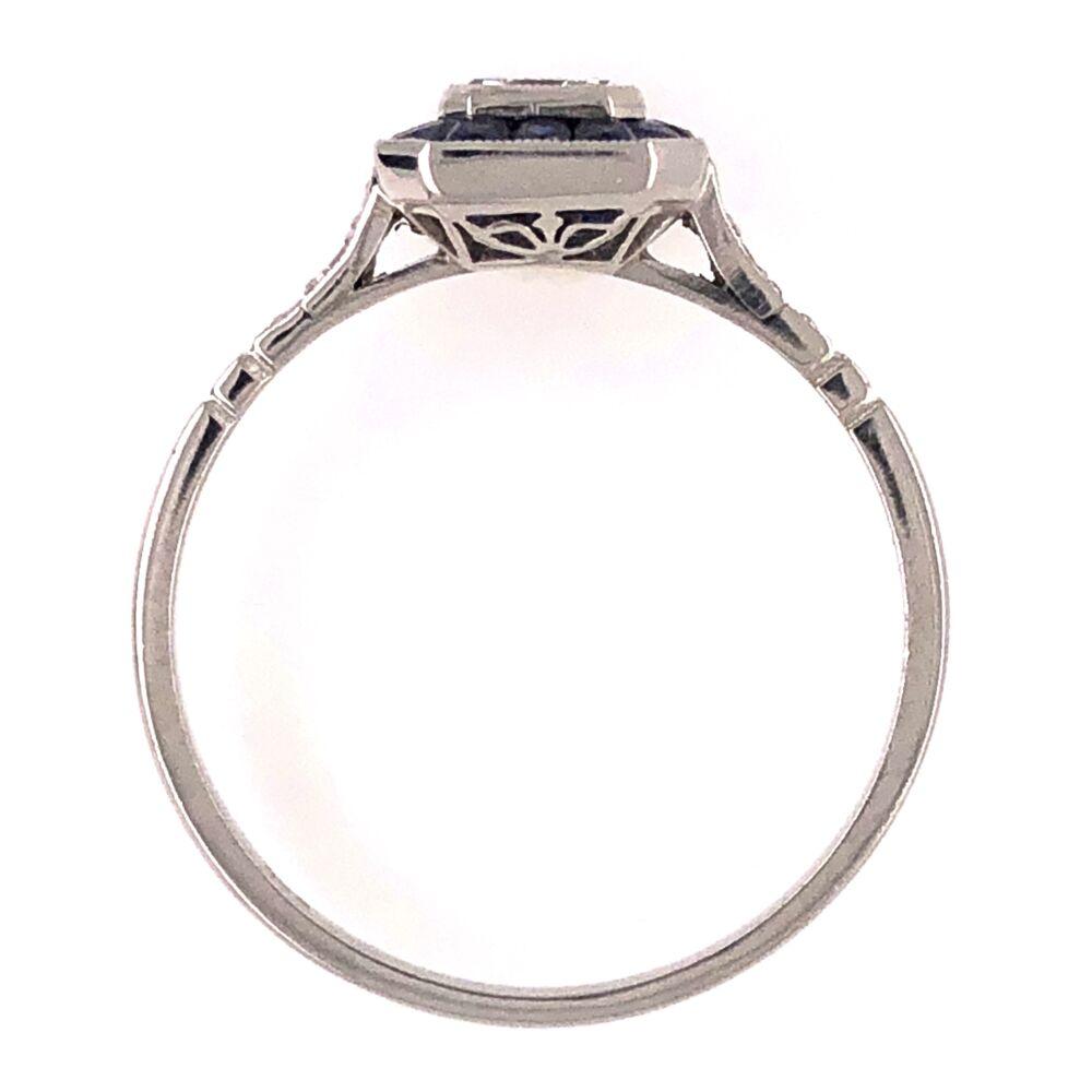 Image 2 for Platinum Handmade .48ct Emerald Cut Diamond Ring with .80tcw Sapphire Halo, s7