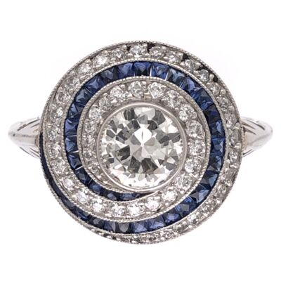 Closeup photo of Platinum Art Deco .63ct Old European Cut Diamond, .60tcw Sapphires & .76tcw Side Diamond Ring, 6.50