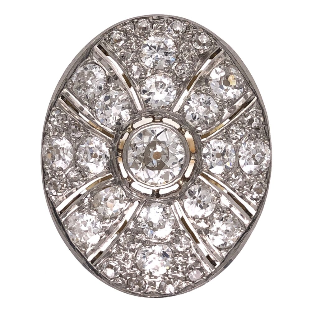 Platinum on 18K Yellow Gold Cluster Diamond Ring, Center is .50ct & sides are 2.00tcw 8.7g, s6.25