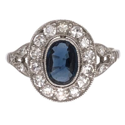 Closeup photo of Platinum Art Deco 1.00ct Sapphire & .50tcw Diamond Ring 3.4g, s6.25