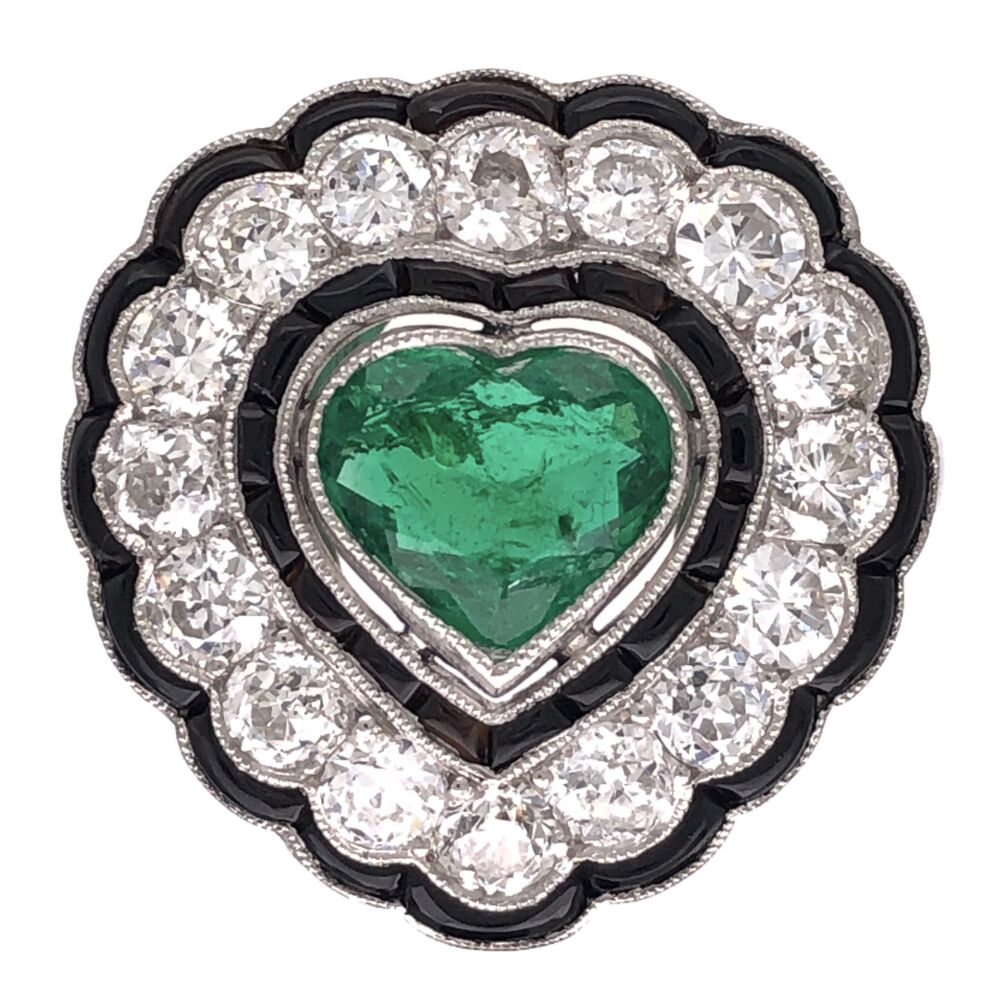 Platinum Art Deco 1.00ct Heart Shape Emerald Ring with 1.50tcw Diamonds and Buff top Onyx 6.9g, s7.75