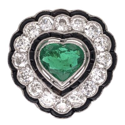 Closeup photo of Platinum Art Deco 1.00ct Heart Shape Emerald Ring with 1.50tcw Diamonds and Buff top Onyx 6.9g, s7.75