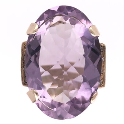 Closeup photo of 18K Rose Gold Retro 35ct Amethyst & .15tcw Diamond Ring 10.7g, s6.75