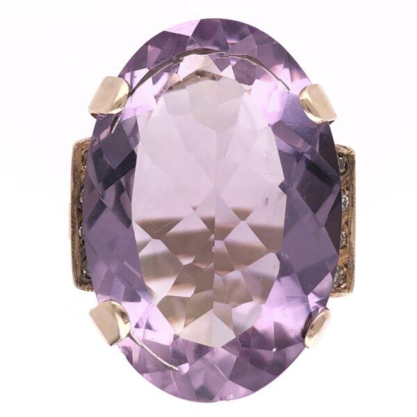 Closeup photo of 18K Rose Gold Retro 35ct Amethyst & .15tcw Diamond Ring 10.7g, s6.75