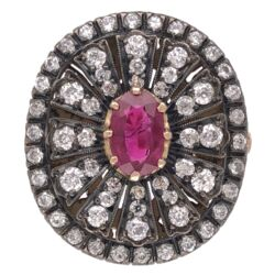 Closeup photo of 18K Yellow Gold & Silver Ring with 1.02ct Ruby and 1.10tcw Diamonds 7.1g, s6.75