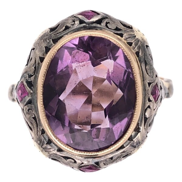 Closeup photo of 18K Yellow Gold & Silver Arts & Crafts 5ct Amethyst & .20tcw Ruby Ring 5.7g, s8.5