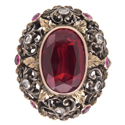 Closeup photo of 18K Yellow Gold & Silver 1900's Ring with an 8ct Syn. Ruby, .20tcw Diamonds & .20tcw Rubies 8.1g, s6.75