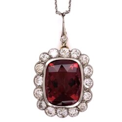 "Closeup photo of Platinum on 14K Yellow Gold Edwardian 8.61ct Rubellite Tourmaline & 1.60tcw Diamond Pendant 8.3g, 17"" Chain"