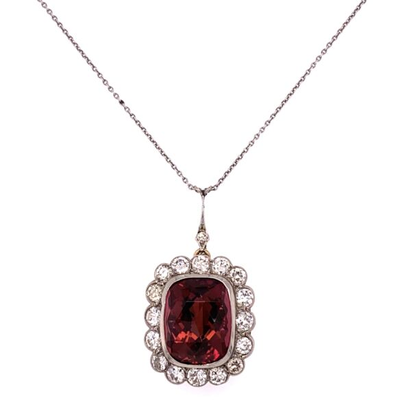 "Closeup photo of Platinum on 14K Yellow Gold Edwardian 8.61ct Rubelite Tourmaline & 1.60tcw Diamond Pendant 8.3g, 17"" Chain"