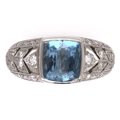 Closeup photo of Platinum 2.00ct Aquamarine & .46tcw Diamonds Designer JAMES Ring 14.2g, s7.75