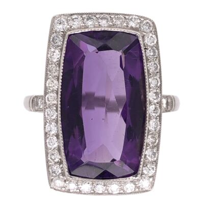 Closeup photo of Platinum Art Deco Elongated 5.95ct Amethyst and .65tcw Diamond Ring 5.3g, 6.75