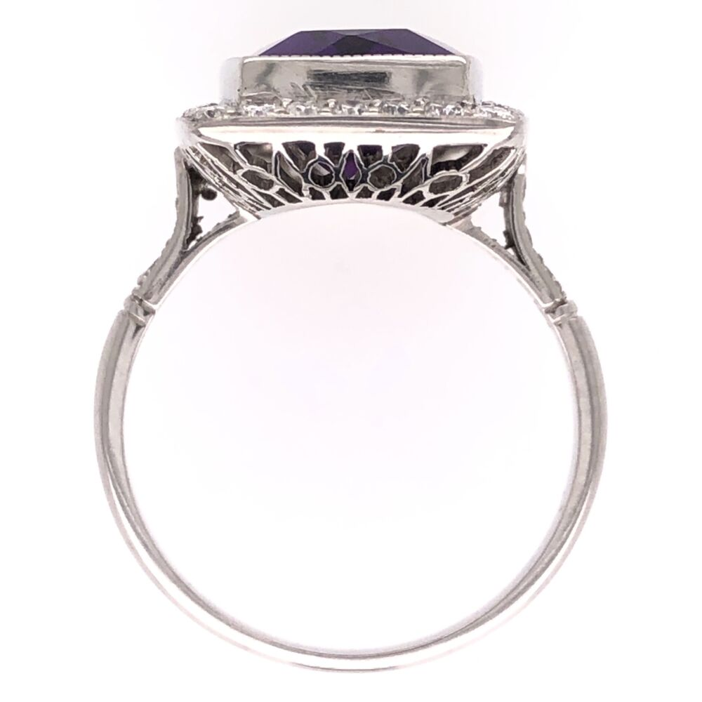 Image 2 for Platinum Art Deco Elongated 5.95ct Amethyst and .65tcw Diamond Ring 5.3g, 6.75