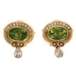 Closeup photo of 18K Yellow Gold 4.00tcw Peridot & .75tcw Diamond Earrings 10.2g,