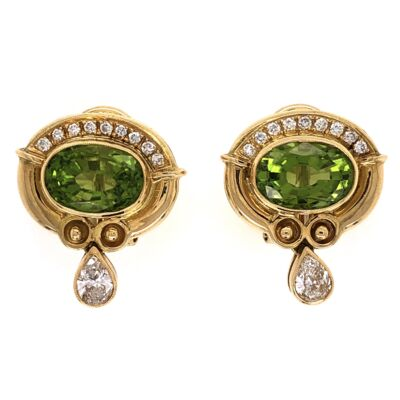 Closeup photo of 18K Yellow Gold 4.00tcw Peridot & .75tcw Diamond Earrings 10.2g,