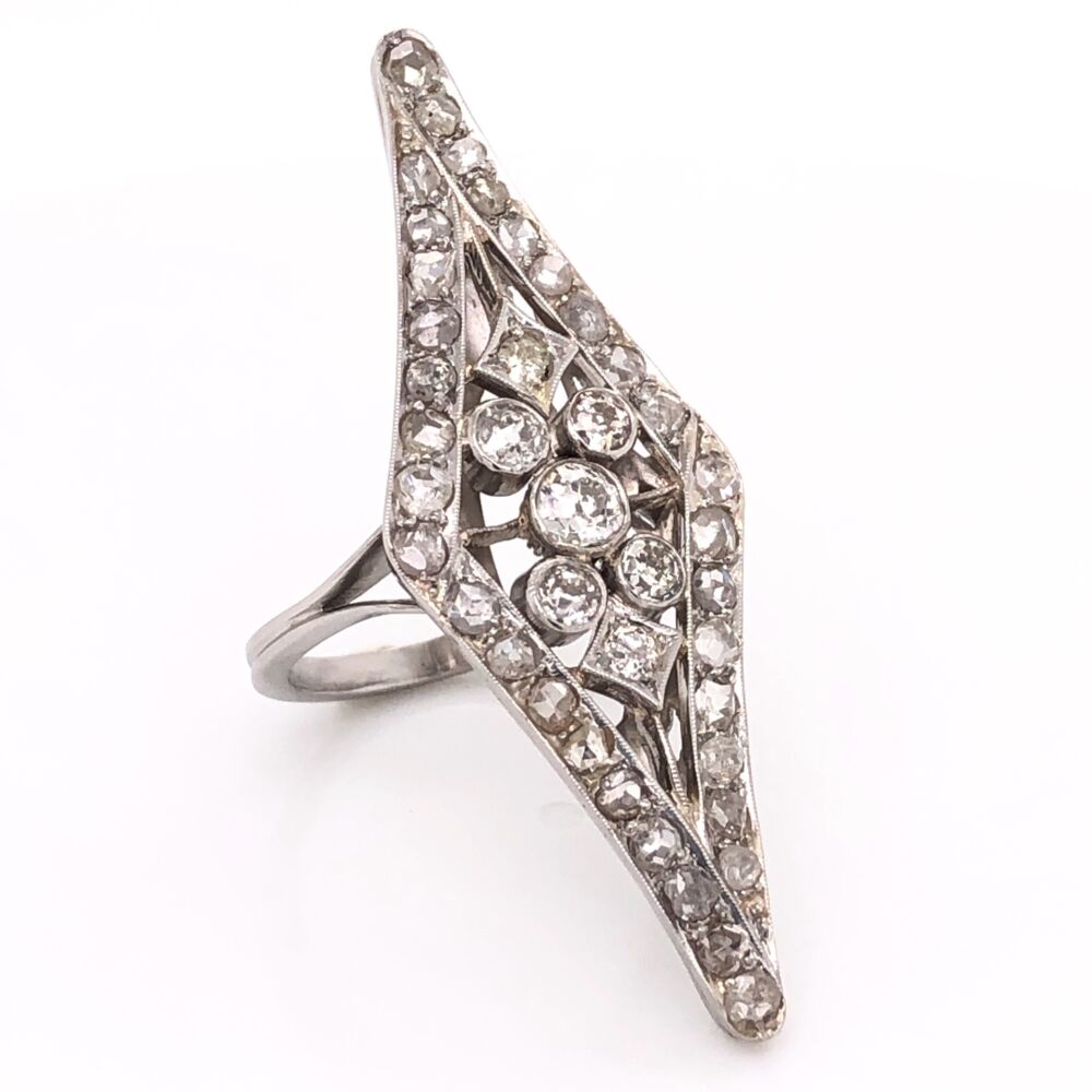Platinium Art Deco 3.00tcw Diamond Navette Cocktail Ring with Rose cuts and OEC's 9.8g, s6.5