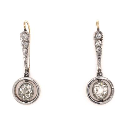 Closeup photo of 18K Yellow Gold & Silver Drop Edwardian Earrings 2 Old Mine Diamonds are 1.60tcw & .20tcw