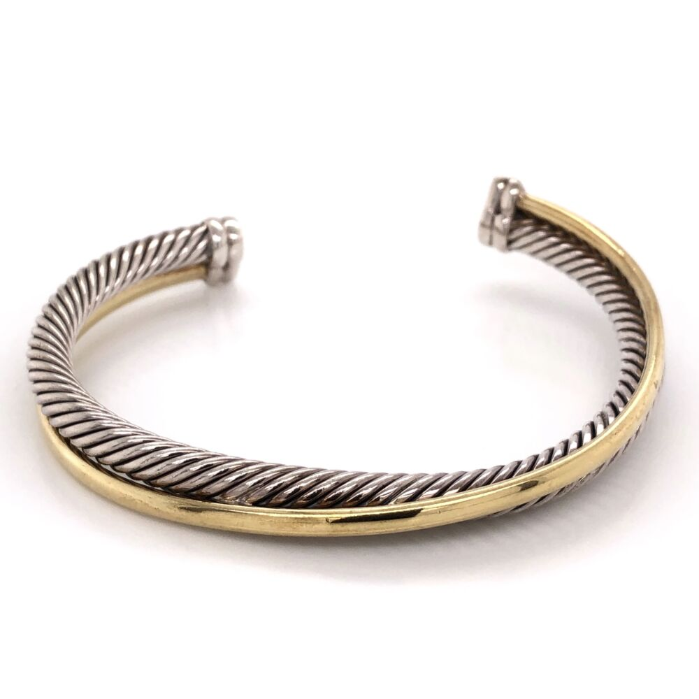 DAVID YURMAN 18K Yellow Gold & Sterling Wrap over Rope Cuff Bracelet 36.3g, s7