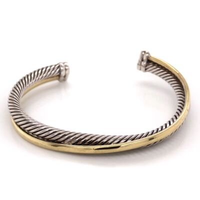 Closeup photo of DAVID YURMAN 18K Yellow Gold & Sterling Wrap over Rope Cuff Bracelet 36.3g, s7