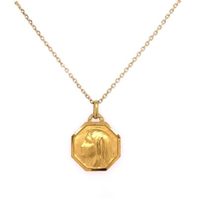 "Closeup photo of 14K Yellow Gold FRENCH Saint Pendant 5.0g on 16"" Chain"