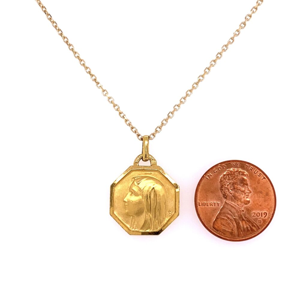 """Image 2 for 14K Yellow Gold FRENCH Saint Pendant 5.0g on 16"""" Chain"""