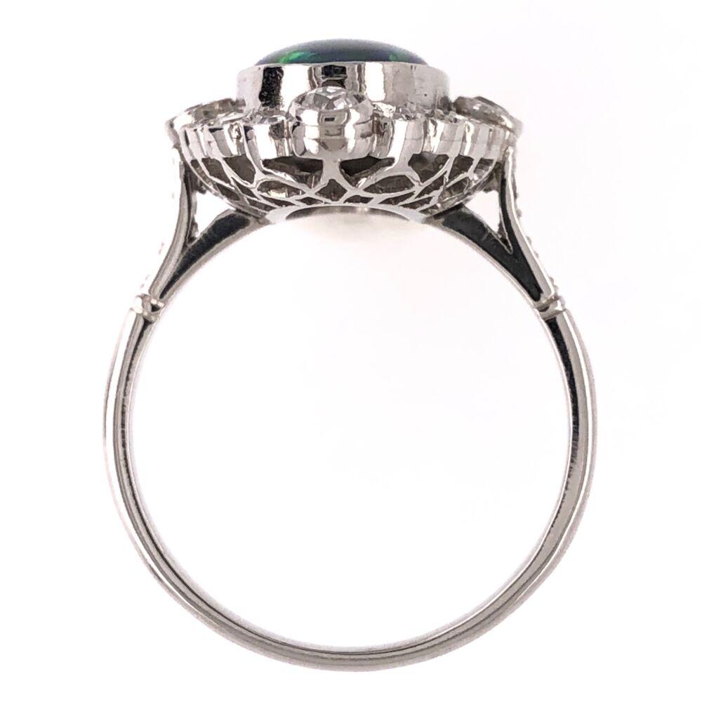 Image 2 for Platinum Art Deco 3.21ct Black Opal & .85tcw Diamond Ring 5.4g, s7