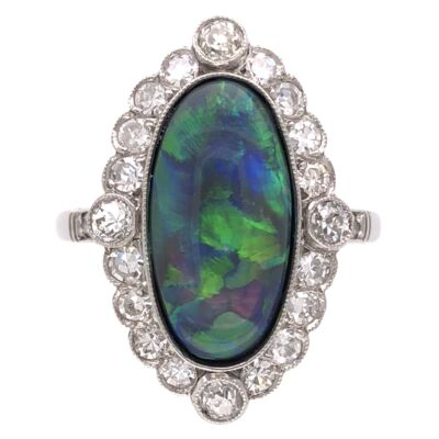 Closeup photo of Platinum Art Deco 3.21ct Black Opal & .85tcw Diamond Ring 5.4g, s7