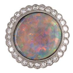 Closeup photo of Platinum Art Deco 3.89ct Round White Opal & .56tcw Diamond Ring 6.0g, s6.75