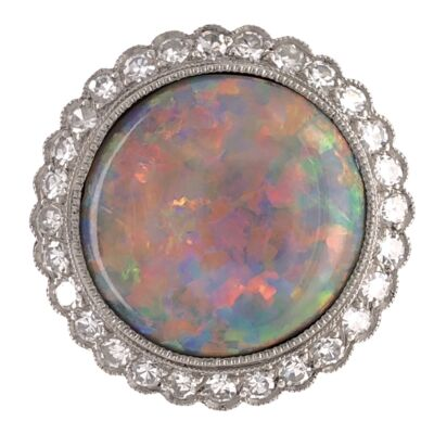 Closeup photo of Platinum Art Deco 3.89ct Round White Opal & .56tcw Diamond Ring 6.0g, s6.75