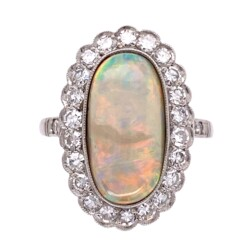 Closeup photo of Platinum Art Deco 3.24ct Long White Opal & .69tcw Diamond Ring 6.1g, s6.75