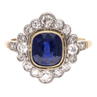 Closeup photo of Platinum on 18K Yellow Gold Edwardian 1.28ct Sapphire GIA & .53tcw Diamonds Ring 4.6g, s7