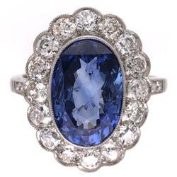 Closeup photo of Platinum Art Deco 4.06ct NO HEAT Oval Sapphire GIA & 1.30tcw Diamond Halo Ring 6.6g, s6.5