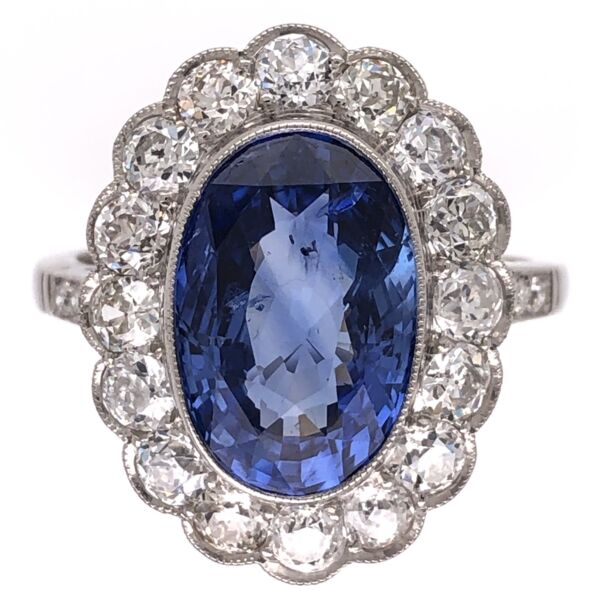 Closeup photo of Platinum Art Deco 4.06ct NO HEAT Oval Sapphire GIA & 1.30tcw Diamond Halo Ring 6.6g, s6.5