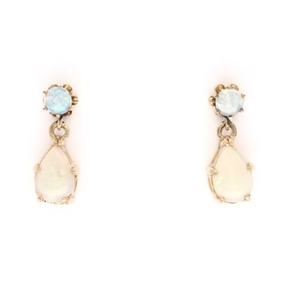 Closeup photo of 14K Yellow Gold White Opal Dangle Earrings Rounds & Pears 2.5g