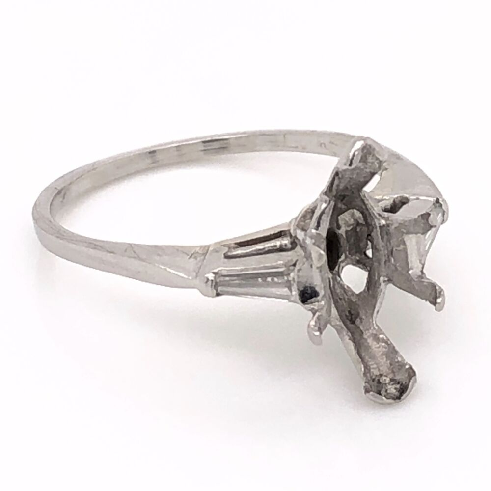 Image 2 for Platinum Semimount Ring with 2 Tapered Baguette Diamonds .20tcw 4.2g, s7