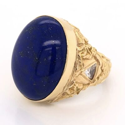 Closeup photo of 14K Yellow Gold 20ct Oval Cabochon Lapis Ring with 2 Trillion Diamonds 1.00tcw 23.9g, s9.75