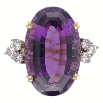 Closeup photo of 18K Yellow Gold 25ct Oval Amethyst & .60tcw Diamond Ring, 14.5g, s6.75