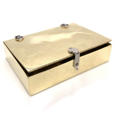Closeup photo of 14K Yellow Gold & Platinum Art Deco Box 87.3g