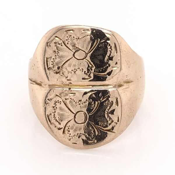 Closeup photo of 10K Yellow Gold Victorian Double Flower Ring 8.1g, s5.5
