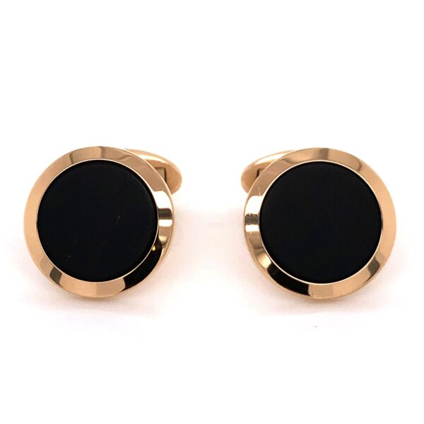 Closeup photo of 18K Yellow Gold WEMPE Round Black Niello Tablet Cufflinks 13.5g