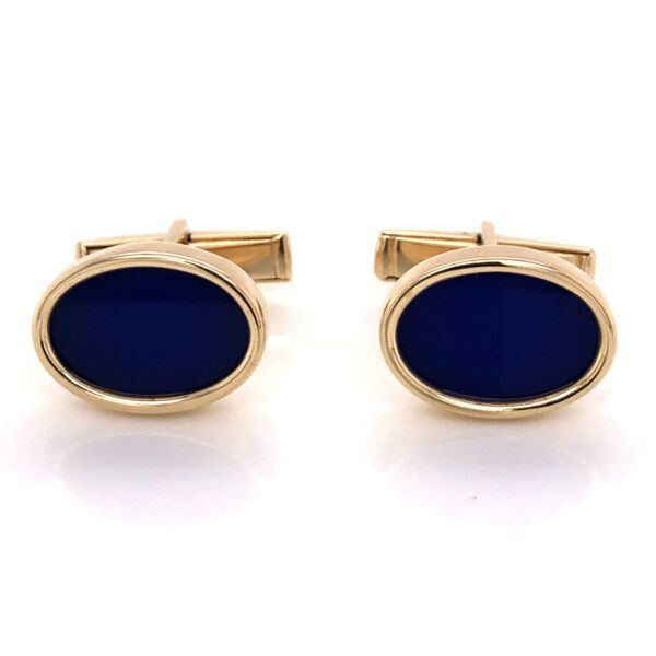 Closeup photo of 14K Yellow Gold LARTER Lapis Lazuli Oval Cufflinks 11.8g