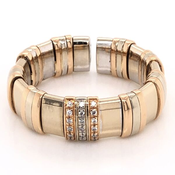 Closeup photo of 18K Tri Color Gold Mens WLH Flexible Diamond Band Ring 16.8g, s11.5+