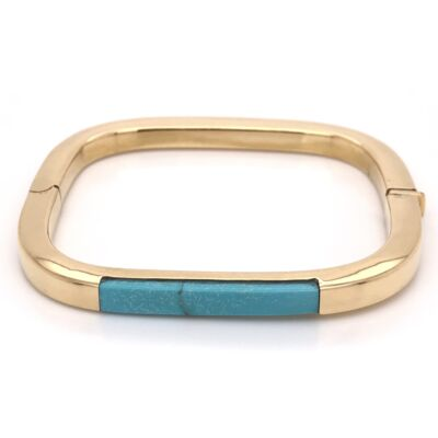 Closeup photo of 18K Yellow Gold Morenci Turquoise Inlay Rectangular Bangle 21.1g