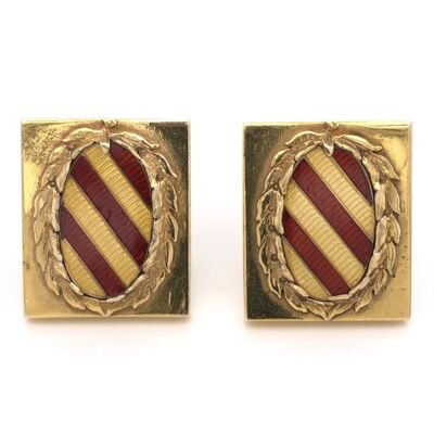 Closeup photo of 14K Yellow Gold Red & Gold Enamel Wreath Accent Cufflinks 23.0g