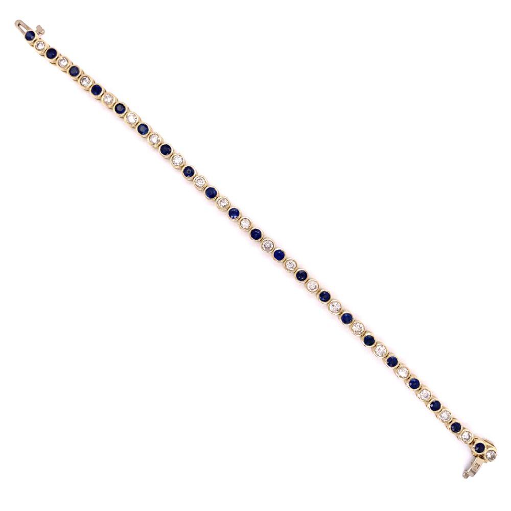 """Image 2 for 14K Yellow Gold Bezel Set Diamond & Sapphire Bracelet 13.2g, 7"""""""
