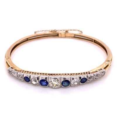 Closeup photo of 15K Yellow Gold Victorian Bangle Bracelet Diamonds & Sapphires 16.0g